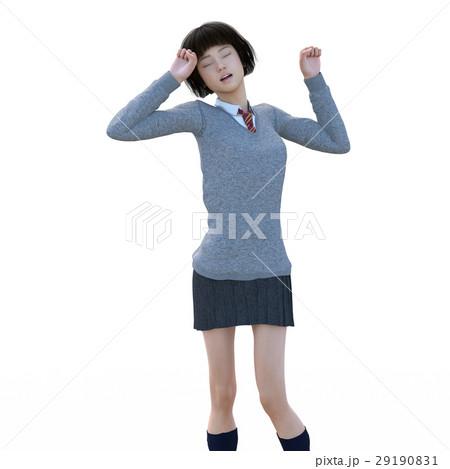 ポーズする制服の女子学生 perming 3DCG イラスト素材 29190831
