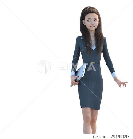 パソコンを持って歩くオフィスガール perming3DCG イラスト素材 29190893