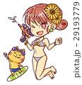 水着の女の子と猫のイラスト 29193779