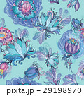 Turquoise Floral Lotus and Peony Vector Pattern 29198970