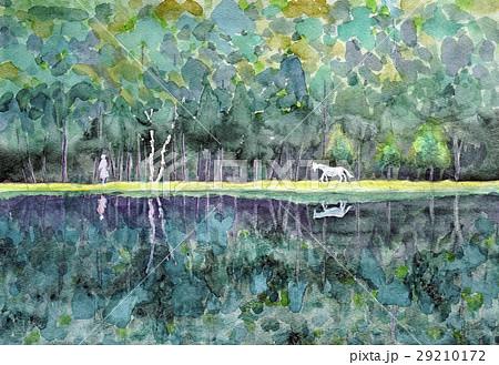 御射鹿池 山の湖 水彩画 白馬 29210172
