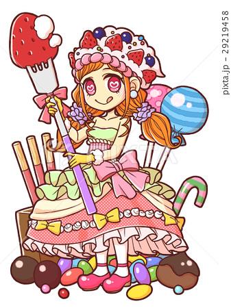 甘い物に囲まれた女の子のイラストのイラスト素材 29219458 Pixta