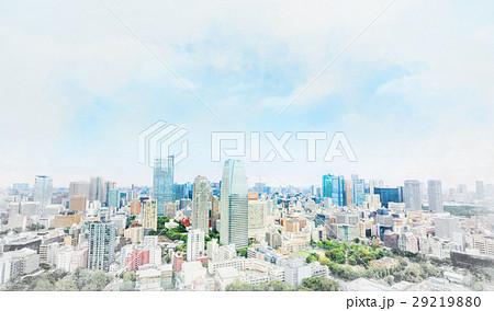 Tokyo city bird eye view mix sketch illustration 29219880