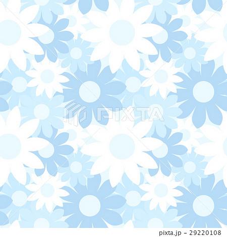 ガーリーでかわいい 大きな花柄のシームレスパターン 総柄 青系 ベクター 29220108