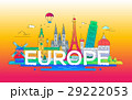 Europe - flat design composition with landmarks 29222053