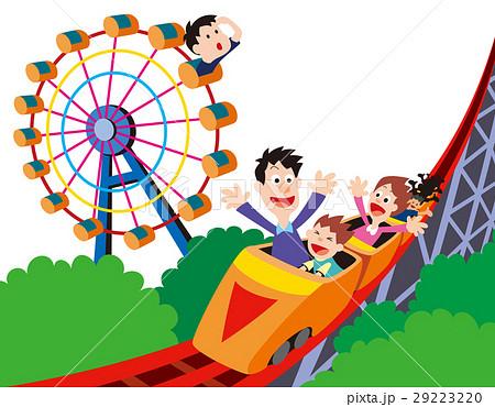 ジェットコースター観覧車遊園地家族家族レジャーのイラスト素材