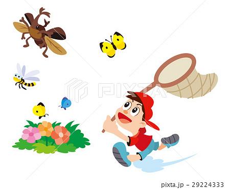 昆虫採集虫取り虫あみと子供カブトムシチョウチョトンボの