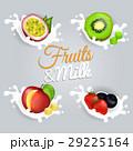 Fruit Splashing in Milk Colorful Vector Poster 29225164