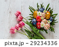 Easter Background with easter eggs and pink tulips 29234336