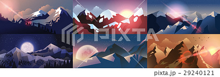 Set background mountain landscape in flat style 29240121
