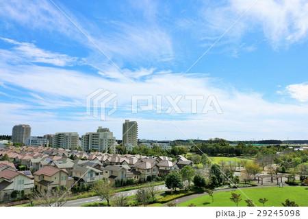 気持ちいい青空とニュータウンの風景 29245098