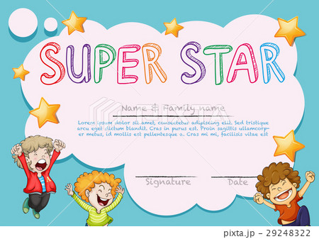 super star award template with kids in backgroundのイラスト素材