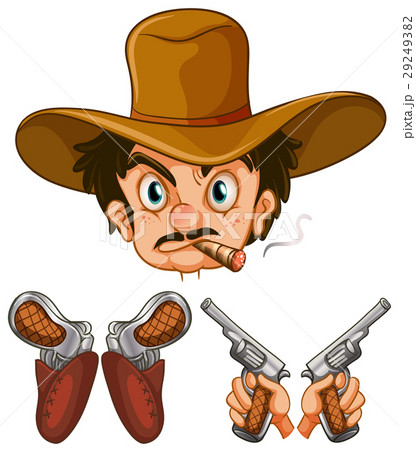 cowboy head and two pairs of gunsのイラスト素材 29249382 pixta