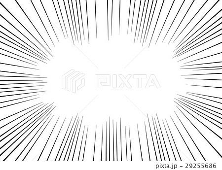 漫画・コミック風集中線フレーム 背景透過png・白背景 コピースペース 長方形 29255686
