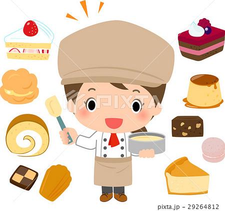 パティシエの女性と洋菓子 29264812
