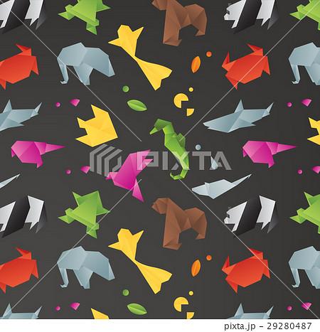 animals origami pattern blackのイラスト素材 29280487 pixta