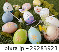Colorful Easter Eggs on grass background 29283923