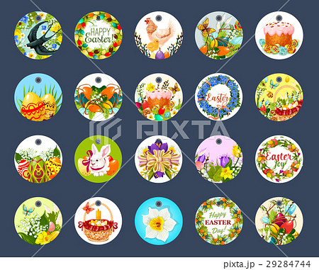 Easter tag set with cartoon round label 29284744