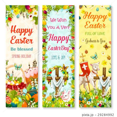 Easter holiday symbols greeting banner set design 29284992