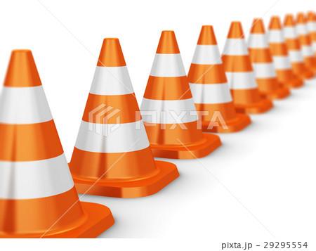 Row of orange traffic cones 29295554