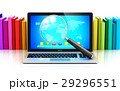 Laptop and magnifying glass in front color books 29296551