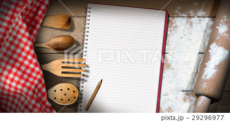 Empty Notebook with Flour and Rolling Pinの写真素材 [29296977] - PIXTA