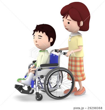 車いすに座るギブスの男の子と介助するお母さん 29298368