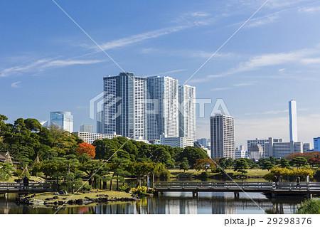 秋の浜離宮恩賜庭園と豊海のタワーマンション 29298376