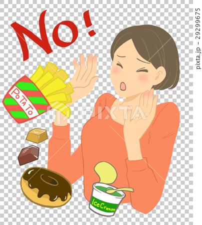 ダイエットする女性と食べ物 29299675
