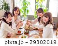 若い女性、女子会、4人、乾杯、レストラン 29302019