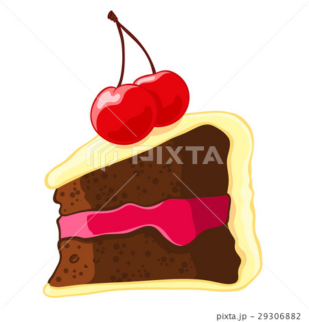 Cartoon icon of a piece of chocolate cake with 29306882