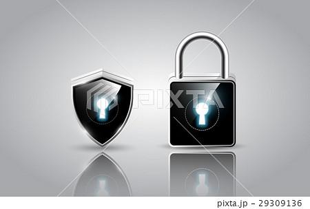 realistic modern padlock and shield, vector 29309136
