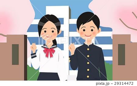 学校の前でガッツポーズをする中学生の男女 29314472