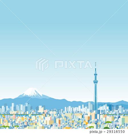 東京スカイツリーと富士山 29316550