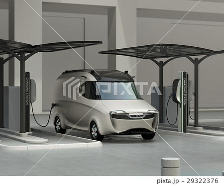 充電スタンドに充電している電気自動車イメージ。 29322376