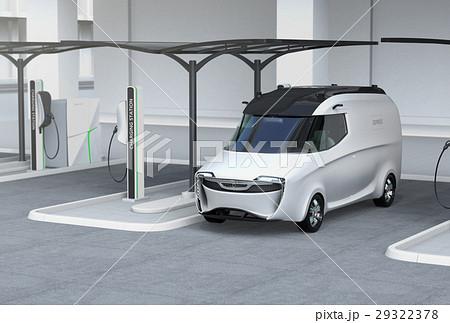 充電スタンドに充電している電気自動車イメージ。 29322378