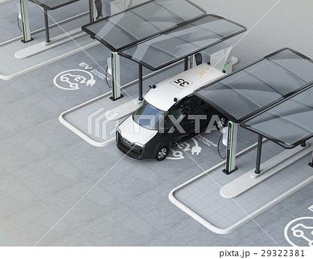 充電スタンドに充電している電気自動車イメージ。 29322381