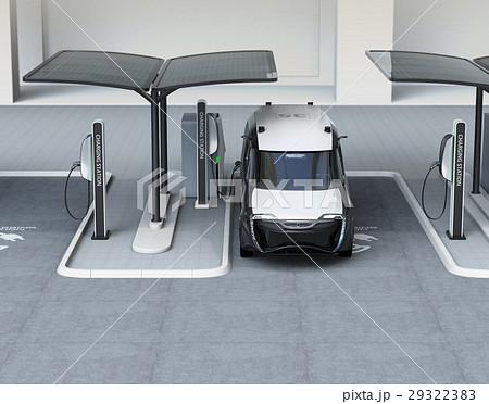 充電スタンドに充電している電気自動車イメージ。 29322383