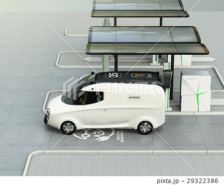 充電スタンドに充電している電気自動車イメージ。 29322386