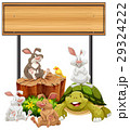 Wooden sign with rabbits and turtle 29324222