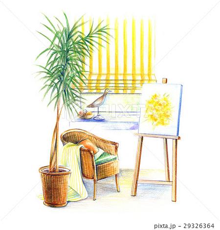 アトリエの窓辺で絵を描く 29326364