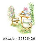 チェア ウッドテーブル 色鉛筆画のイラスト 29326429