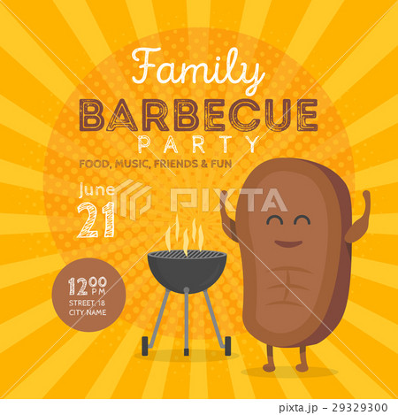 family bbq party invitation template cute steakのイラスト素材
