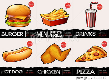 Different types of fastfood on menu 29333549