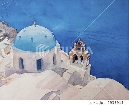 青い屋根の教会 サントリーニ島イア 29339154