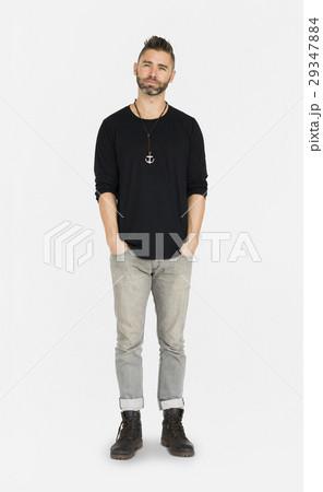 Caucasian Man Peaceful Standing 29347884