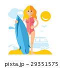 女の子 サーファー ビーチのイラスト 29351575