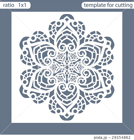 Template square greeting cards laser cut. 29354862
