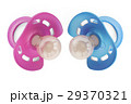 blue and pink baby pacifiers closeup, 3D rendering 29370321