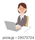 ビジネスウーマン デスクワーク ノートパソコンのイラスト 29373724